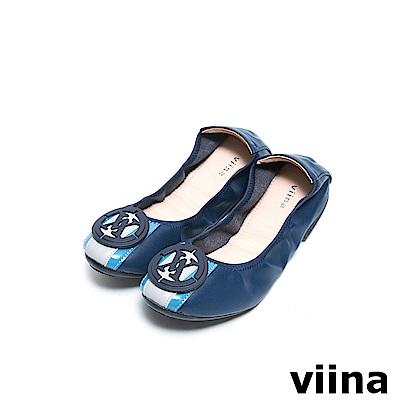 viina 條紋LOGO摺疊鞋MIT - 深藍
