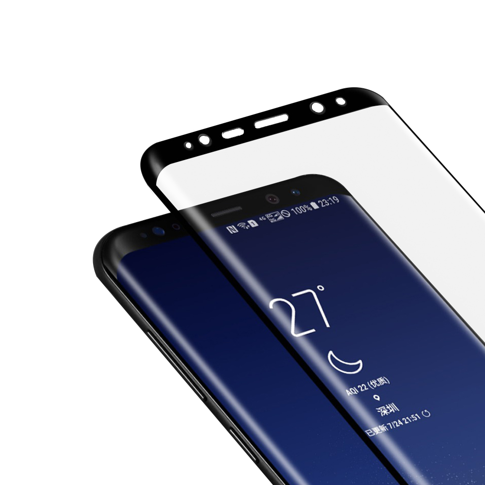 三星 S8+ 透明 9H 鋼化玻璃膜 防撞 曲面 保護貼-黑色 @ Y!購物