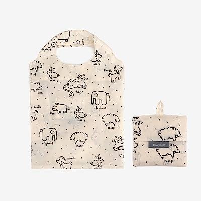 Dailylike 摺疊口袋購物袋S-05動物塗鴉