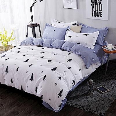 La Lune 台灣製經典超細雲絲絨雙人加大兩用被床包四件組 雪都之森