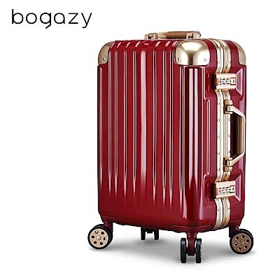 Bogazy 迷幻森林III 20吋鋁框新型力學V槽鏡面行李箱(暗紅金)