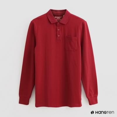 Hang Ten - 男裝 - 純色口袋POLO衫 - 紅