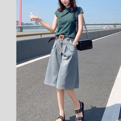 2F韓衣-簡約氣質寬鬆舒適造型闊腿牛仔褲-牛仔藍-(S~XL)