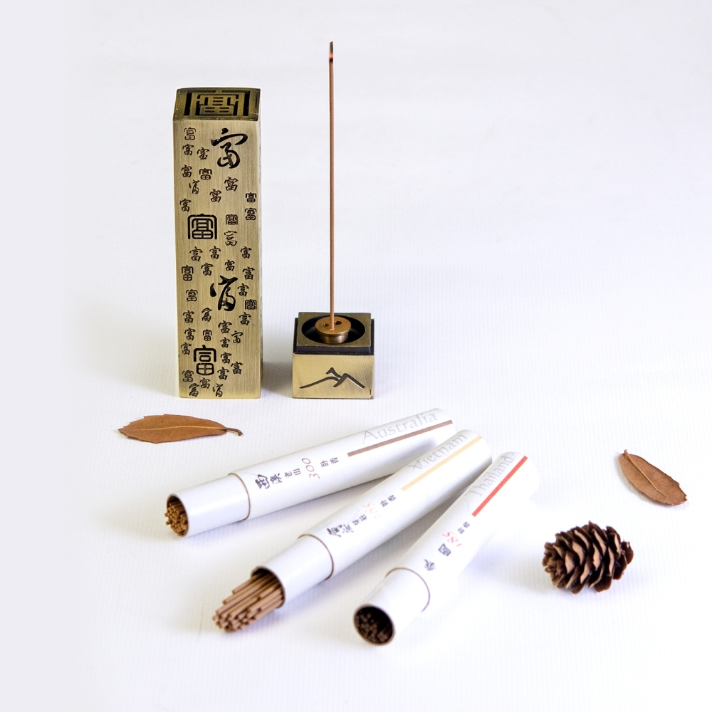 Fushankodo 富山香堂  一送三 一爐搭三香 招富貴納四方財 富山香讚青銅香禮組