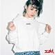 X-girl MILLS LOGO CROPPED SWEAT HOODIE短版連帽上衣-白 product thumbnail 1