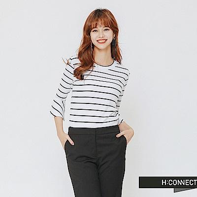 H:CONNECT 韓國品牌 女裝-衣袖設計條紋上衣-白