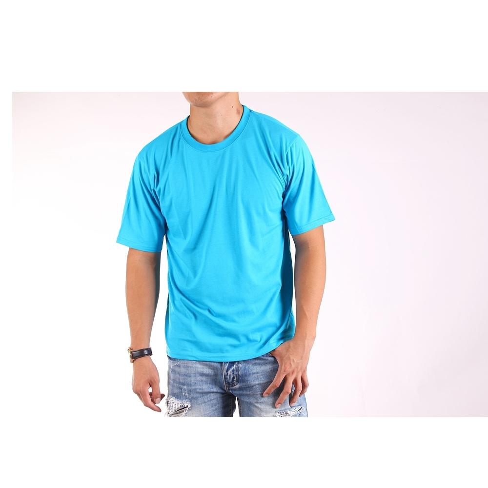 CS衣舖 台灣製造 速乾棉 吸濕排汗 透氣 短袖T恤 情侶T 五色 (天空藍+天空藍)