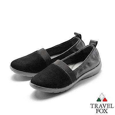 TRAVEL FOX(女) 我型我素 時尚三角雙料舒適減壓休閒鞋 - 銀河黑