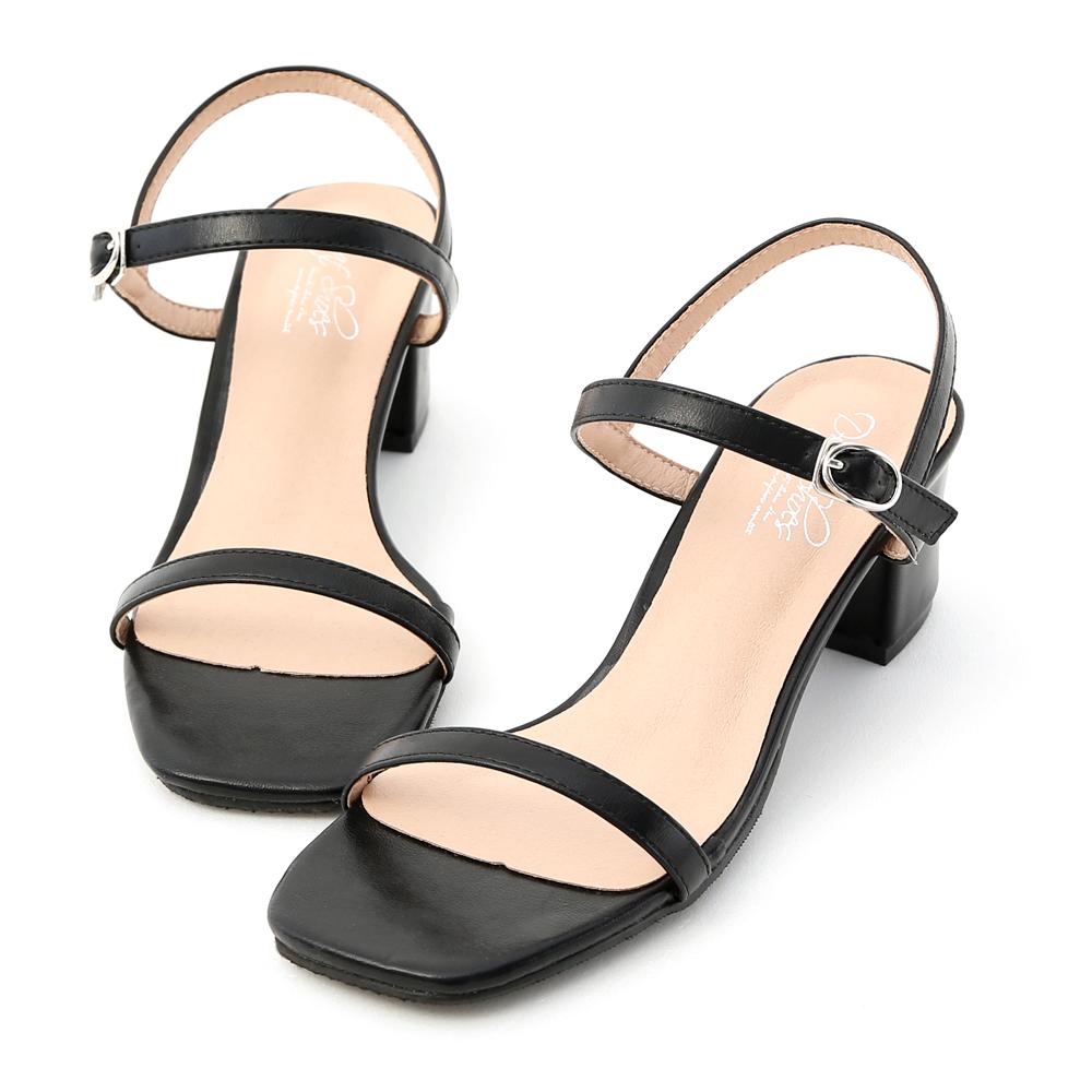 D+AF 夏日美型.一字細帶方頭中跟涼鞋*黑