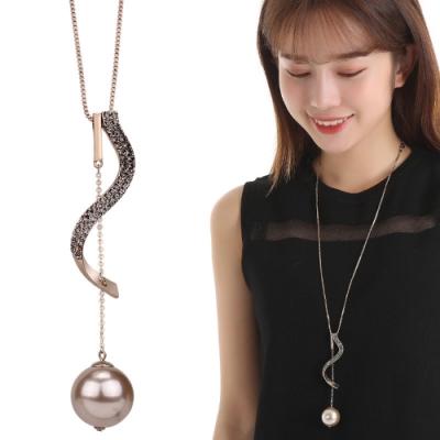 梨花HaNA 韓版曲線灰水晶珍珠球球長項鍊
