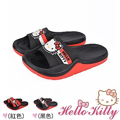 HelloKitty童鞋親子鞋 輕量減壓吸震室內外拖鞋 紅-黑