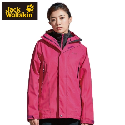 【Jack Wolfskin 飛狼】女 Dinan 單件式 防風防水透氣外套 夾克『桃紅』(採用 Air Wolf Tex 防水科技)