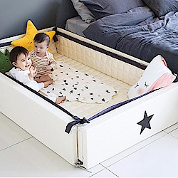 GGUMBI/DreamB 多功能圍欄地墊式嬰兒床-米白雲朵星星
