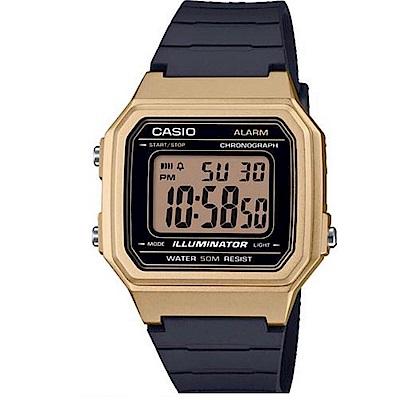 CASIO 復古風金屬感設計數位電子腕錶(W-217HM-9A)金框/41mm