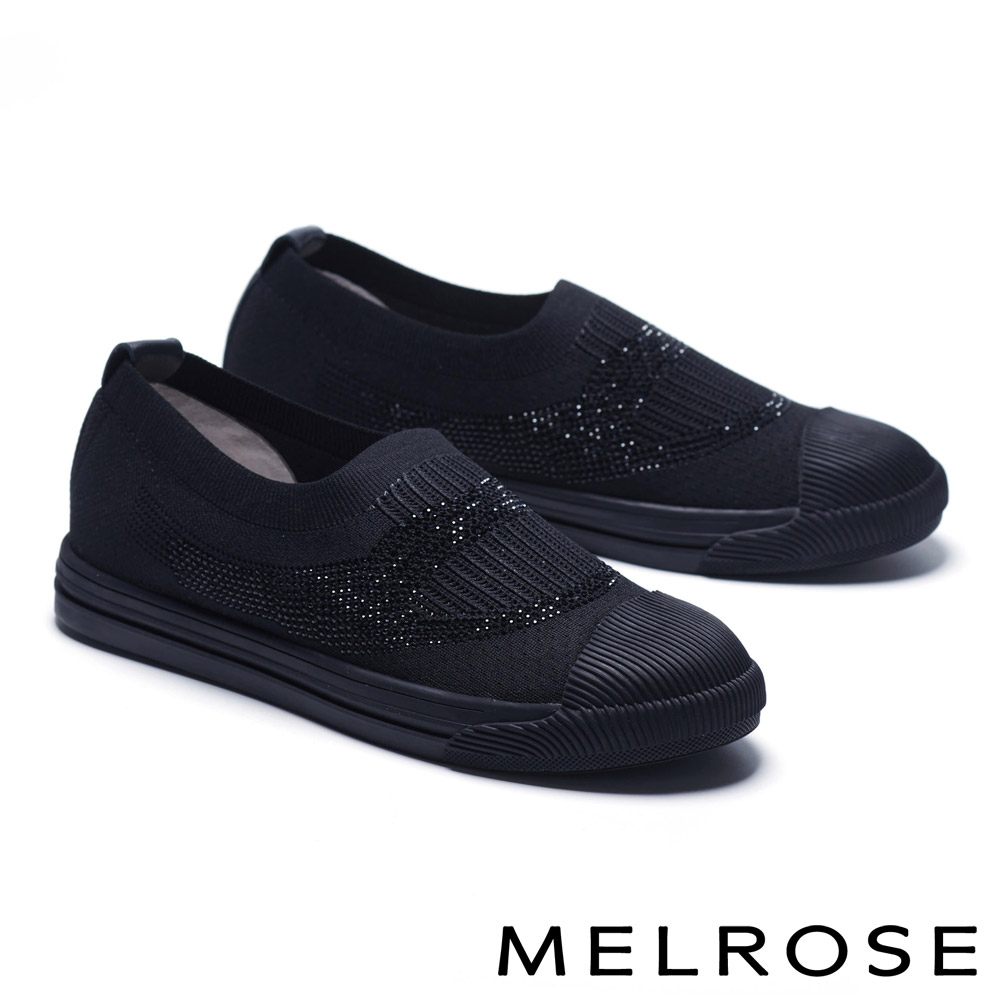 休閒鞋 MELROSE 輕盈透氣晶鑽造型飛織厚底休閒鞋-黑