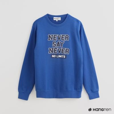 Hang Ten - 男裝 - 撞色字母LOGO棉質上衣 - 藍