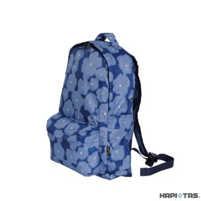 HAPI+TAS 日本原廠授權 可手提摺疊後背包 深藍塗鴉花朵 旅行袋 摺疊收納袋 購物袋