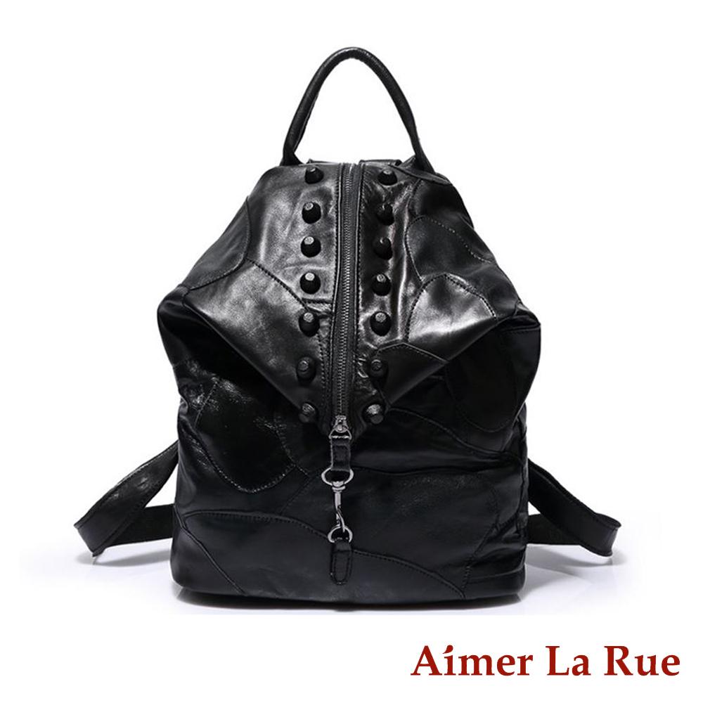 Aimer La Rue 酷炫拼接龐克鉚釘真皮後背包(共二色)