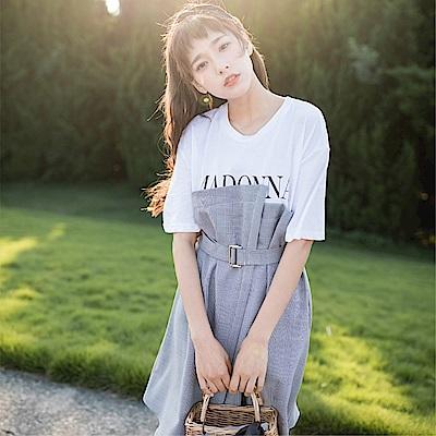 DABI 韓國學院風格紋拼接字母T恤短袖洋裝