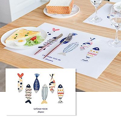 半島良品 升級防水北歐風PVC餐桌隔熱墊- 彩色小魚