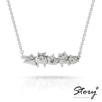 STORY故事銀飾-貓小姐系列-喜歡在一起純銀貓項鍊
