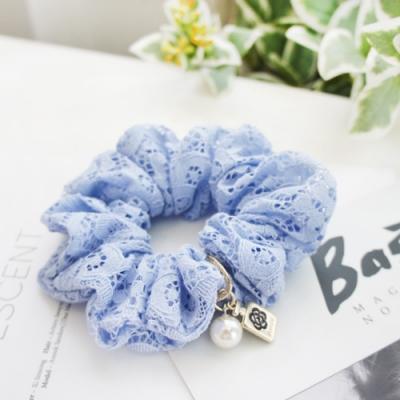 Hera 赫拉 韓國優雅水溶蕾絲繡花珍珠吊墜髮圈-2色