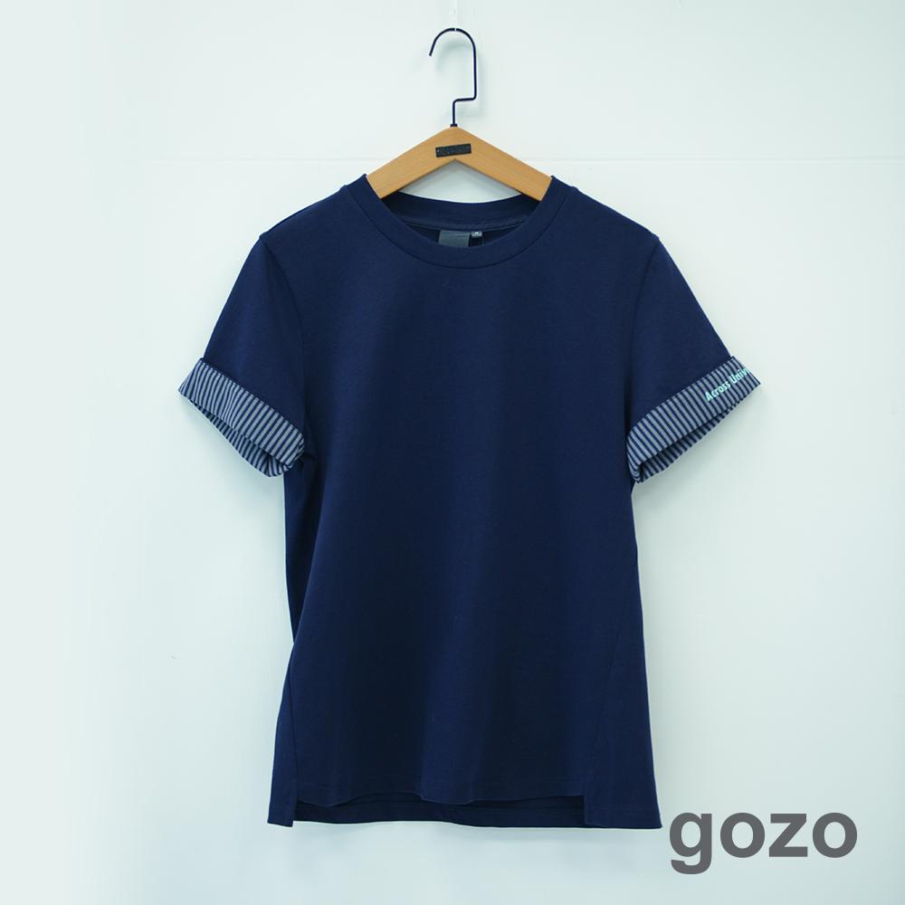 gozo 膠印設計印花拼布反摺袖上衣(二色)