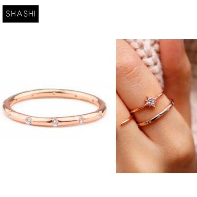 SHASHI 紐約品牌 LOREN 玫瑰金素面戒指 鑲12白鑽設計 優雅百搭