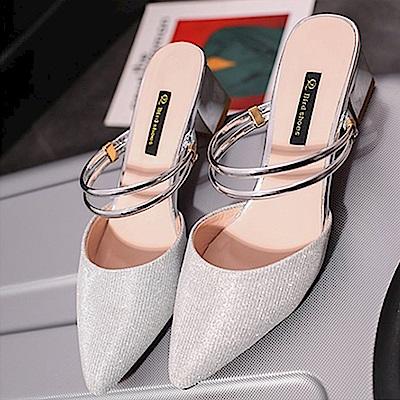 KEITH-WILL時尚鞋館 甜心英倫風閃亮百搭粗跟鞋-銀色