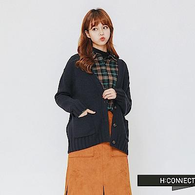 H:CONNECT 韓國品牌 女裝-雙口袋排釦針織外套-藍