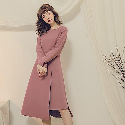 純色修身挺括圍裏式不對襯長袖洋裝-OB大尺碼