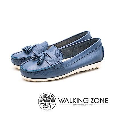 WALKING ZONE 優雅流蘇莫卡辛女鞋-藍(另有白)
