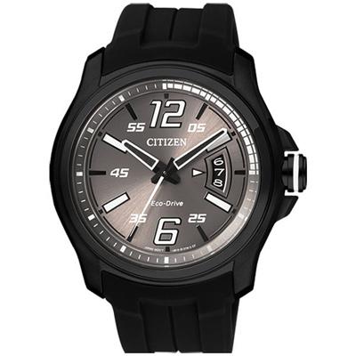 CITIZEN Eco-Drive菁英崛起光動能男錶(AW1354-07H)-黑x橡膠錶帶