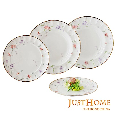Just Home花舞香頌新骨瓷餐盤4件組(9吋及7.5吋)