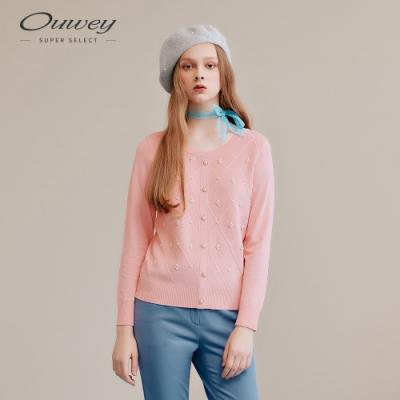 OUWEY歐薇 菱格珍珠針織上衣(粉)