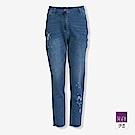 ILEY伊蕾 星星刺繡彈力九分牛仔褲(藍)