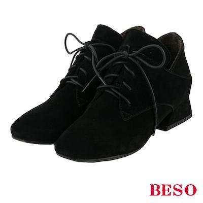 BESO 簡約知性 全真皮綁帶蝴蝶結粗跟方頭踝靴~黑