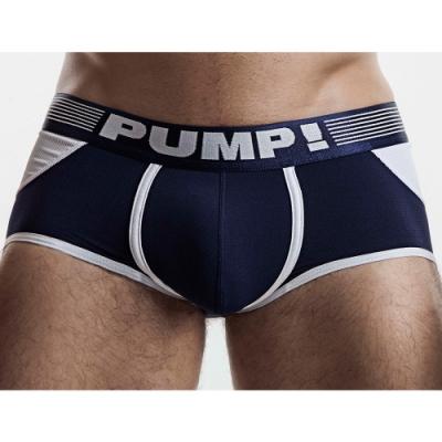 PUMP!藍白拼色四角後空內褲