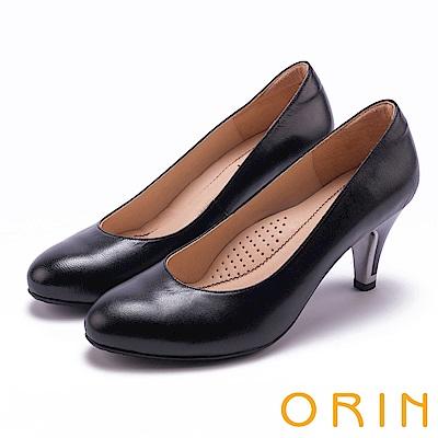 ORIN 典雅時尚女人 柔軟羊皮百搭素面高跟鞋-黑色