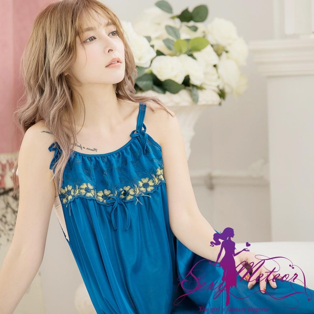 睡衣 大尺碼 蕾絲繡花冰絲細肩帶連身裙睡衣(魅力深藍) SexyMeteor