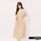 H:CONNECT 韓國品牌 女裝 - 抽繩造型寬肩帶洋裝-卡其