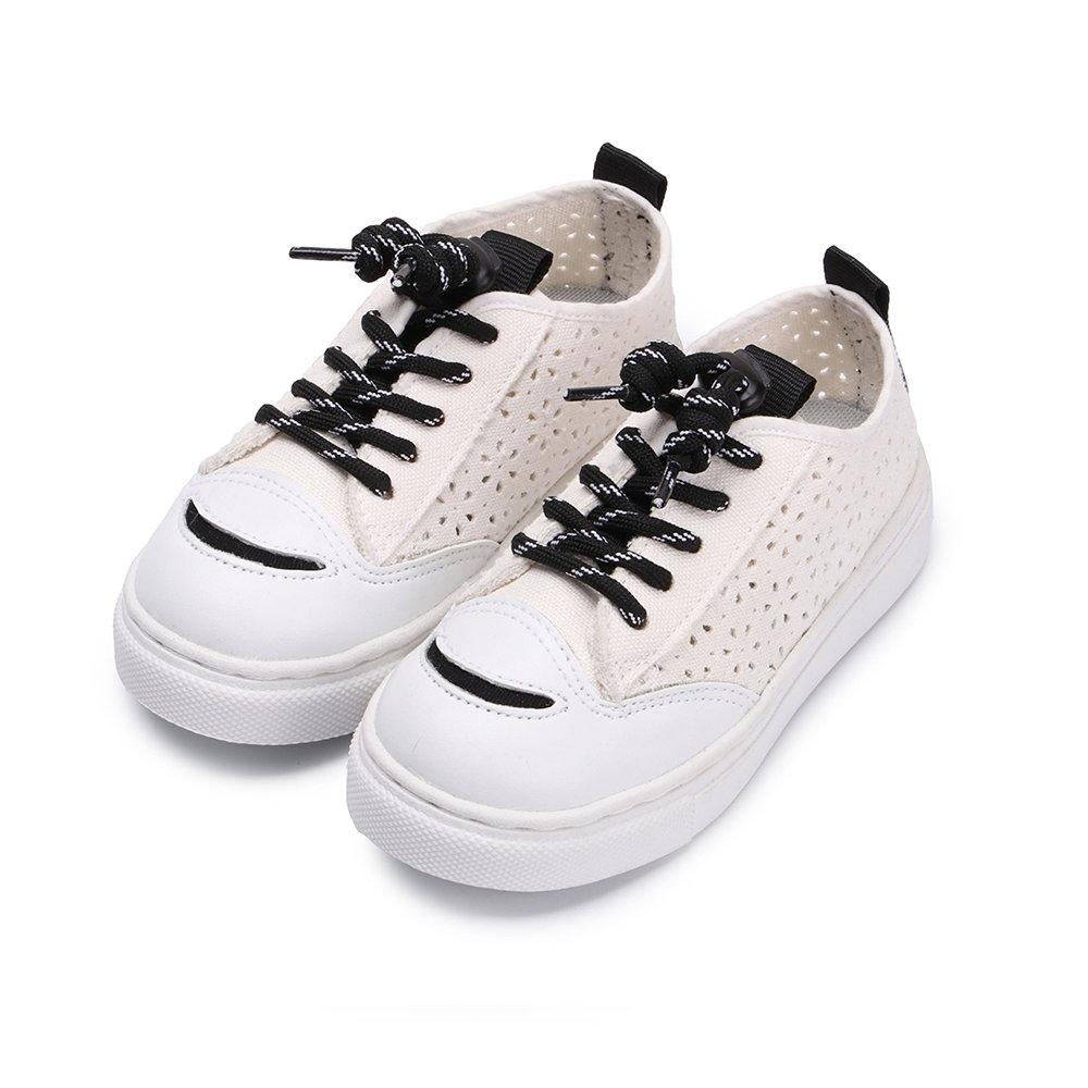 BuyGlasses 微笑透氣花紋兒童休閒鞋-白