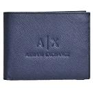 A|X ARMANI EXCHANGE 經典防刮壓紋品牌LOGO多卡片/證照短夾(深夜藍)