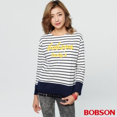 BOBSON 女款條紋流蘇刺繡上衣