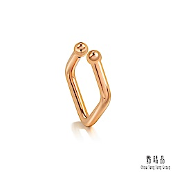 點睛品 Ear Play 18K玫瑰金方形開口式耳環