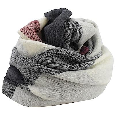 BURBERRY 經典格紋羊毛圍巾/大方金(白黑)