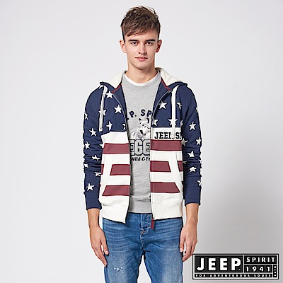 JEEP 美式潮流星星圖騰連帽外套 -藍色