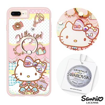 三麗鷗 Kitty iPhone8/7/6s Plus 施華彩鑽減震指環扣手機殼...