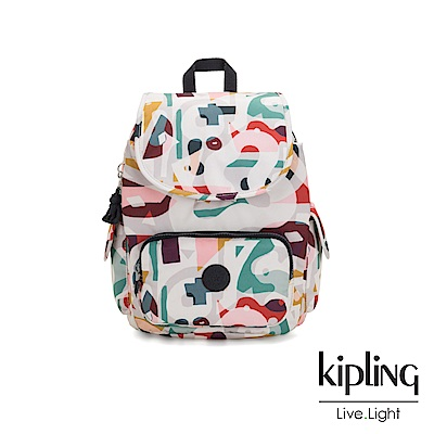 Kipling 音樂派對幾何塗鴉拉鍊掀蓋後背包-CITY PACK S