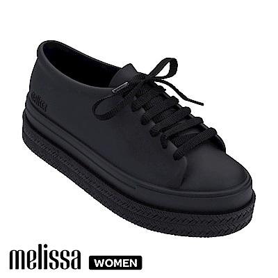 Melissa 潮流Sneaker 厚底綁帶休閒鞋-黑
